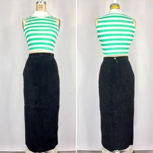 90's Suede Leather Long Fitted Pencil Hobble Skirt